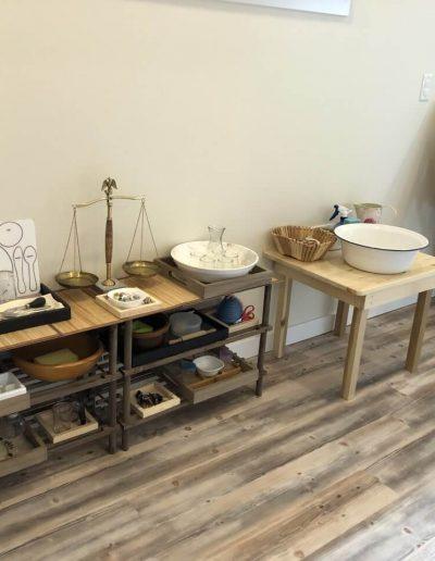 Montessori classroom measuring table