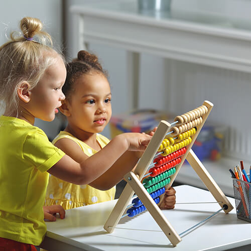 children playing abacus